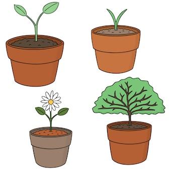 Wektor zestaw drzewa sadzenia