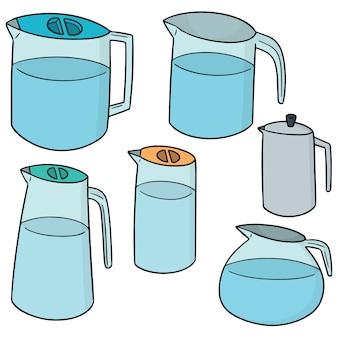 Wektor zestaw dzban wody
