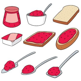 Wektor zestaw dżem i chleb