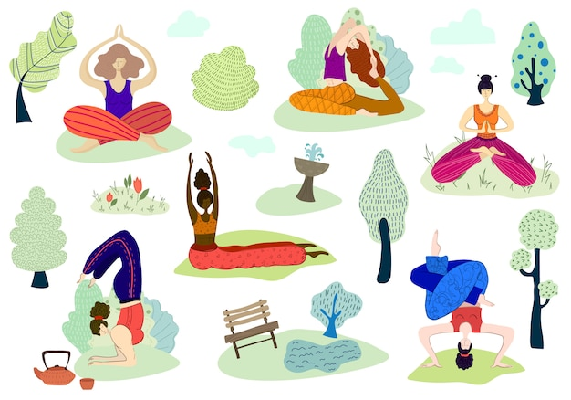 Wektor zestaw dziewcząt ćwiczyć jogę w parku na świeżym powietrzu