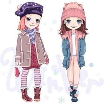 Wektor zestaw dziewcząt w zimowe ubrania