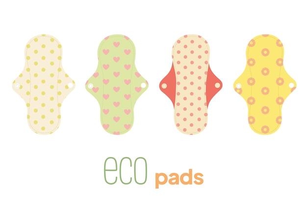 Wektor zestaw ekologicznych podpasek higieniczny produkt dla kobiet