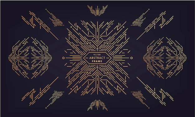 Wektor zestaw elementów abstrakcyjnego projektu geometrycznego, luksusowe dekoracje vintage artdeco, dzielniki. rama w stylu liniowym. monogram geometryczne banery, luksusowe opakowania