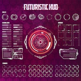Wektor zestaw elementów hud dla futurystycznego interfejsu użytkownika