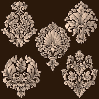 Wektor zestaw elementów ozdobnych adamaszku. eleganckie kwiatowe elementy abstrakcyjne do projektowania. idealny na zaproszenia, kartki itp.