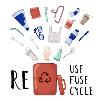 Wektor zestaw elementów - plastikowe śmieci i pojemnik na odpady