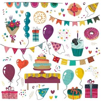 Wektor zestaw elementów strony happy birthday tort świąteczny przedstawia prezenty babeczki babeczki