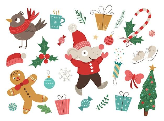 Wektor zestaw elementów świątecznych z myszką w czerwonym kapeluszu i kurtce z rękami do góry na białym tle. boże narodzenie płaski obraz na dekoracje lub projekt nowego roku.
