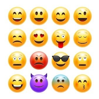 Wektor zestaw emoji emotikonów.