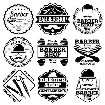 Wektor zestaw etykiet fryzjer