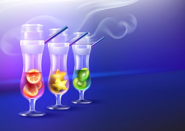 Wektor zestaw fajki wodne ze szkła huraganowego z kiwi, karambola, kumkwat, dym i copyspace widok z przodu na niebieskim tle