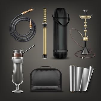 Wektor zestaw fajki wodnej big nargile, e-fajki, szkło huragan, zwinięty wąż, torba do przenoszenia, etui i folia na białym tle na ciemnym tle