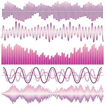 Wektor zestaw fal dźwiękowych. korektor dźwięku. fale dźwiękowe i dźwiękowe na białym tle.