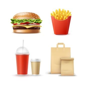 Wektor zestaw fast food realistyczne hamburger klasyczne ziemniaki burger frytki w czerwonym opakowaniu pudełko puste tekturowe kubki do kawy napoje bezalkoholowe ze słomką i papier rzemieślniczy take away handle lunch bags.