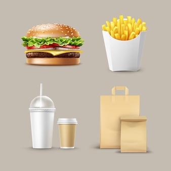 Wektor zestaw fast food realistyczne hamburger klasyczne ziemniaki do burgerów frytki w białym opakowaniu pudełko puste tekturowe kubki na kawę napoje bezalkoholowe ze słomką i papierem rzemieślniczym take away handle lunch bags