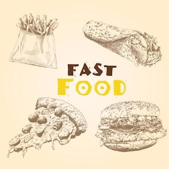 Wektor zestaw fast food.