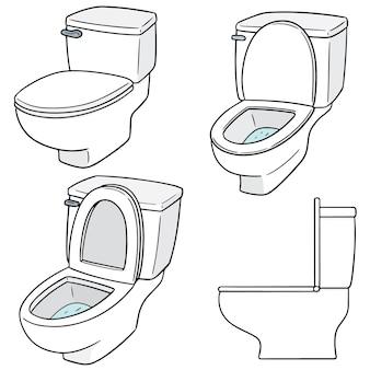 Wektor zestaw flush toalety