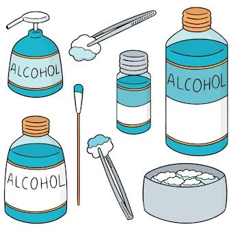 Wektor zestaw forcep, alkoholu i sterylnej bawełny