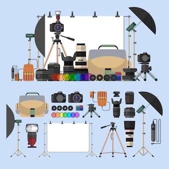 Wektor zestaw fotografii pojedyncze obiekty. elementy projektu sprzęt fotograficzny w stylu płaski. cyfrowe aparaty fotograficzne i gadżety do profesjonalnej fotografii studyjnej.