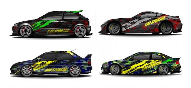 Wektor zestaw graficzny pojazdu. nowoczesne abstrakcyjne tło dla brandingu okładów samochodowych i barwienia naklejek samochodowych