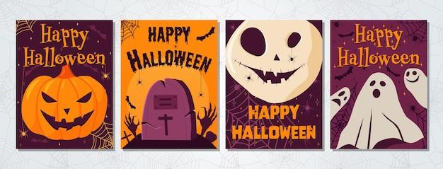 Wektor zestaw halloween party zła dynia zła czaszka złe duchy nagrobek na cmentarzu