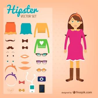 Wektor zestaw hipster dziewczyna