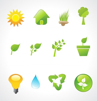 Wektor zestaw ikon ekologii