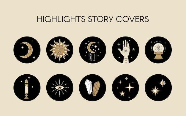 Wektor zestaw ikon i emblematów do okładek z niebiańskich opowieści w mediach społecznościowych