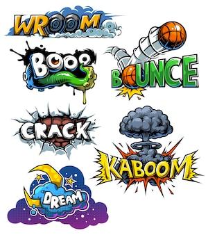 Wektor zestaw ikon komiksów
