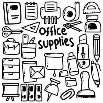 Wektor zestaw ikon materiałów biurowych