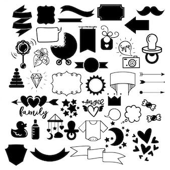 Wektor zestaw ikon naklejki konspektu - ogłoszenie bliźniąt niemowląt