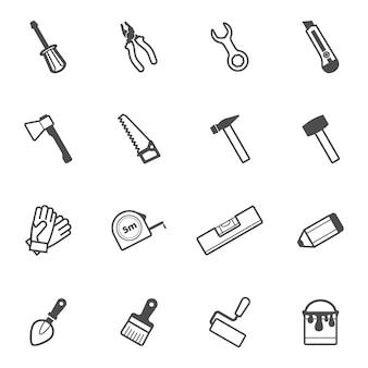 Wektor zestaw ikon narzędzi do budowy i naprawy
