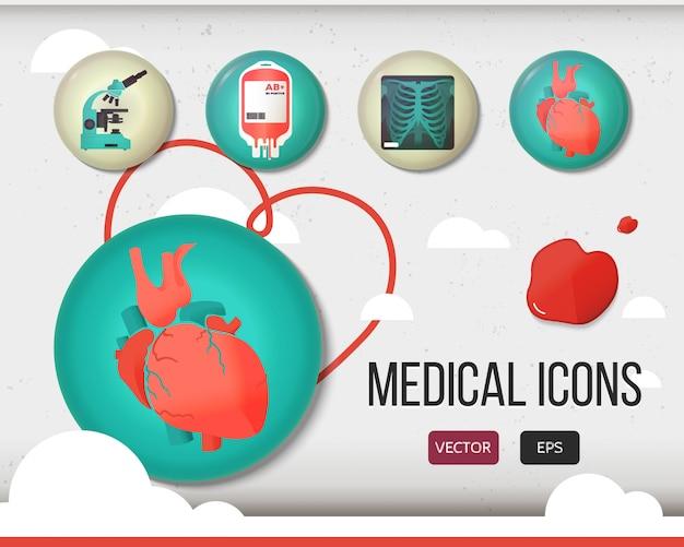Wektor zestaw ikon opieki zdrowotnej i medycznej.