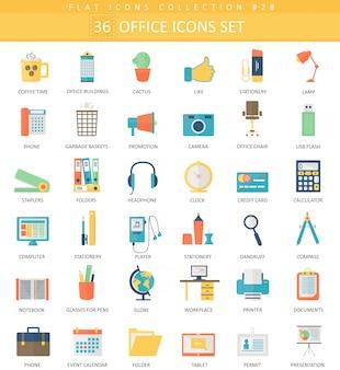 Wektor zestaw ikon płaski kolor biurowy. elegancki styl.
