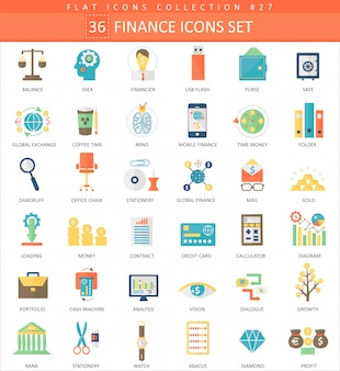 Wektor zestaw ikon płaski kolor finansów.