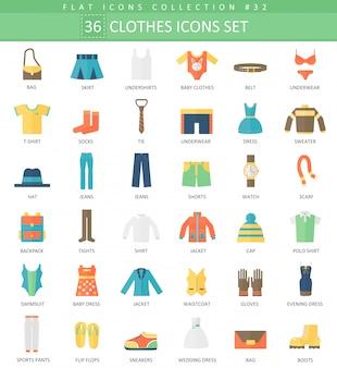Wektor zestaw ikon płaski kolor ubrania