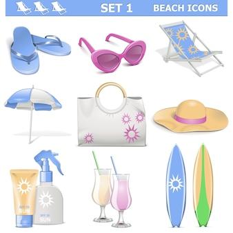 Wektor zestaw ikon plaży 1