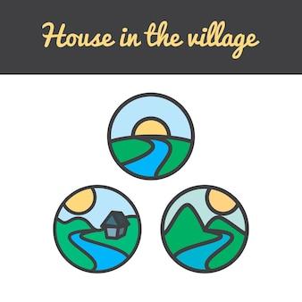 Wektor zestaw ikon przyrody ze słońca, wzgórz, rzeki, gór, drzewa i domu