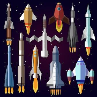 Wektor zestaw ikon rakiet kosmicznych.