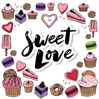 Wektor zestaw ikon słodycze i słodycze.