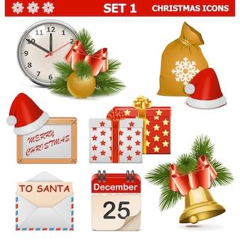 Wektor zestaw ikon świątecznych 1