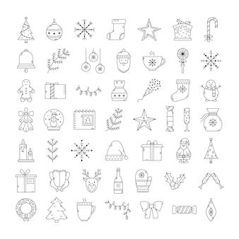 Wektor zestaw ikon świątecznych. zarys nowego roku.