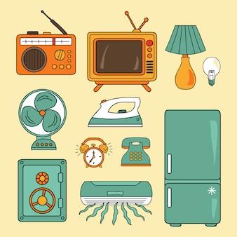 Wektor zestaw ikon technologii. ikony hotelowe