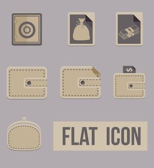 Wektor zestaw ikon tryby pieniędzy. mieszkanie