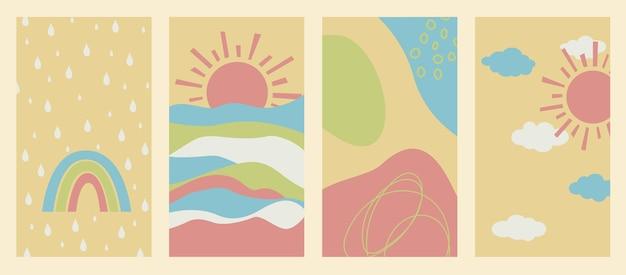 Wektor zestaw ilustracji abstrakcyjne tło z kroplami deszczu słońca i tęczy plakat w stylu boho