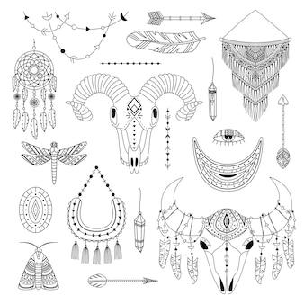 Wektor zestaw ilustracji boho. grafika liniowa. dreamcathers, zwierzęca czaszka, pióra i strzały