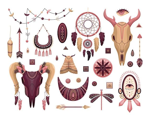 Wektor zestaw ilustracji boho. płaski styl. dreamcathers, zwierzęca czaszka, pióra i strzały