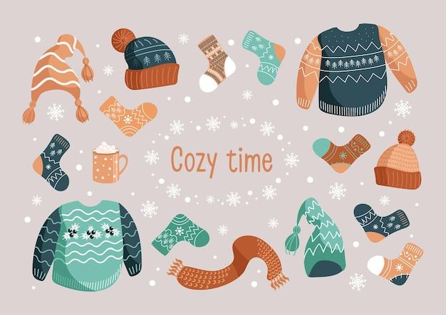 Wektor zestaw ilustracji boże narodzenie zimowe ciepłe ubrania kapelusze skarpetki brzydki sweter