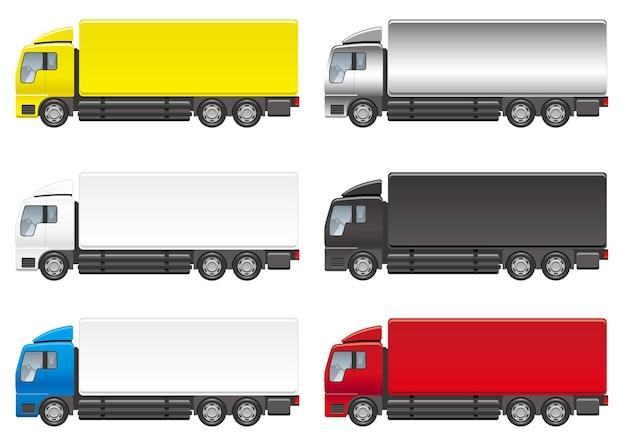 Wektor zestaw ilustracji ciężkich samochodów ciężarowych na białym tle