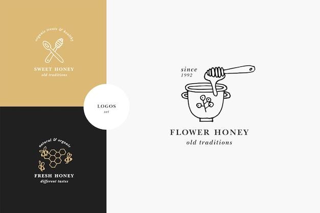 Wektor zestaw ilustracji logo i szablony projektów lub odznaki. etykiety i przywieszki do miodu ekologicznego i ekologicznego z pszczołami. styl liniowy i złoty kolor.